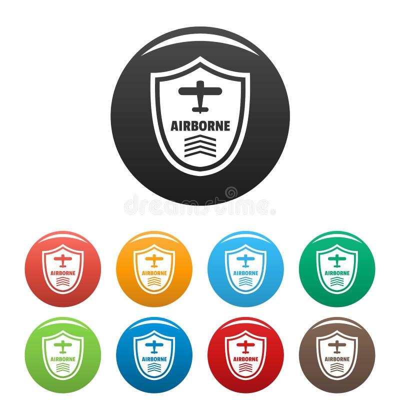 Color aerotransportado del sistema de los iconos de la insignia stock de ilustración