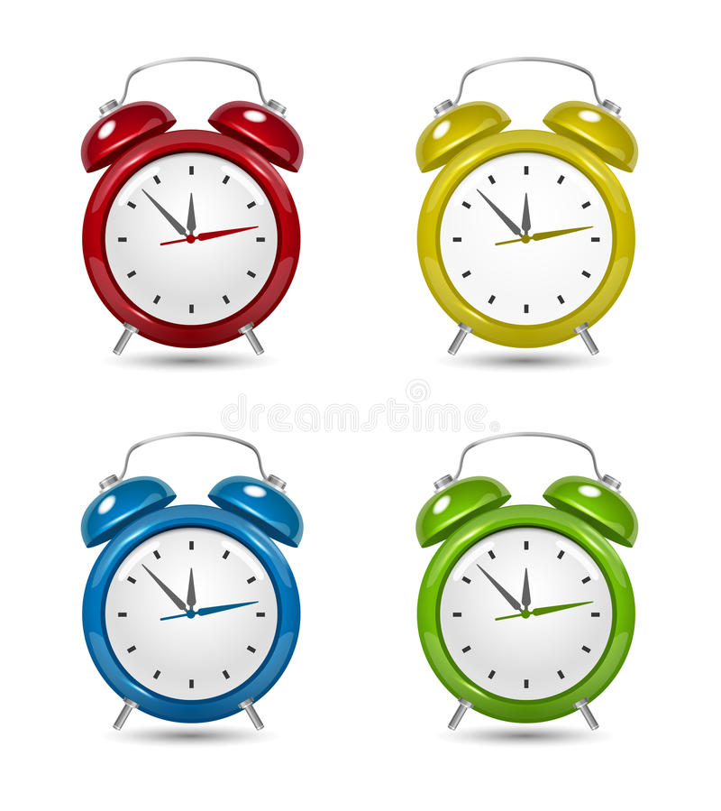 Download Color Alarm clock set. stock photo. Image of deadline - 31324384
