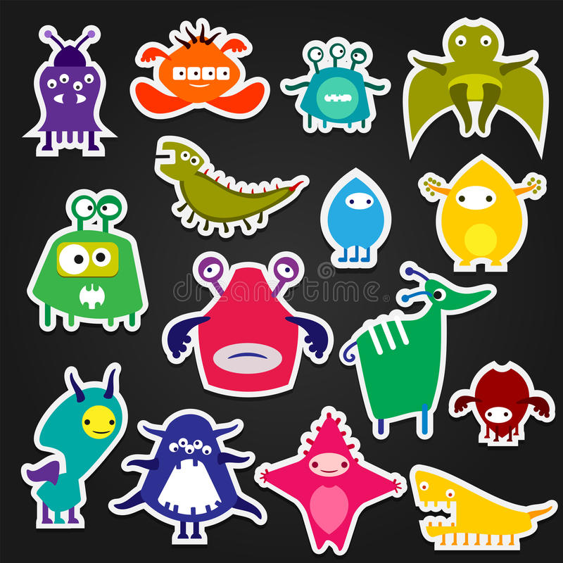 Download color alien monster sticker stock vector illustration of character cartoon 68594950