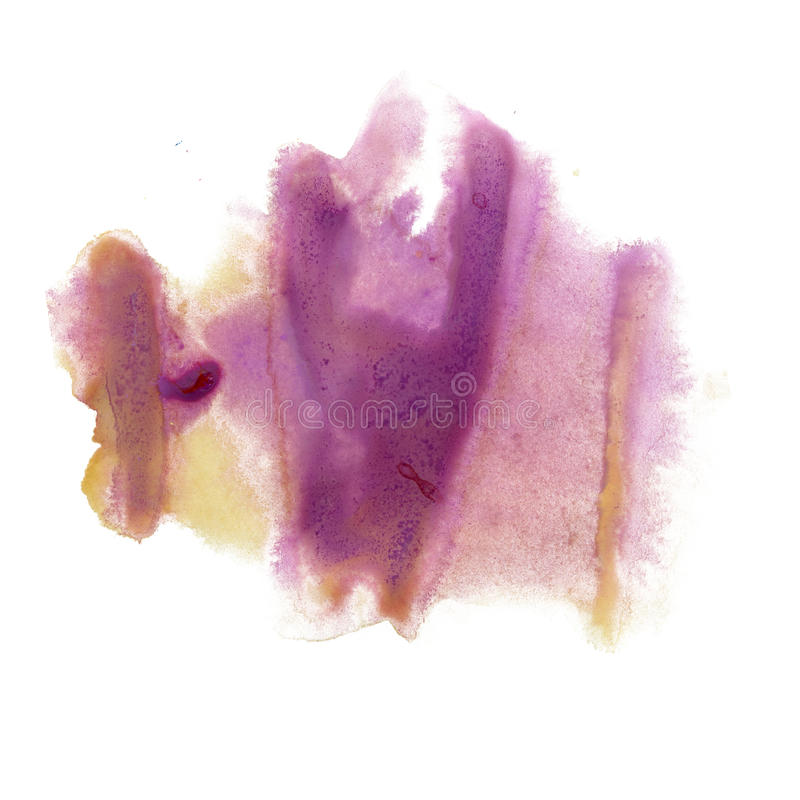 Color amarillo púrpura de la textura del movimiento de la pintura de los movimientos de la acuarela con el espacio para su propio libre illustration