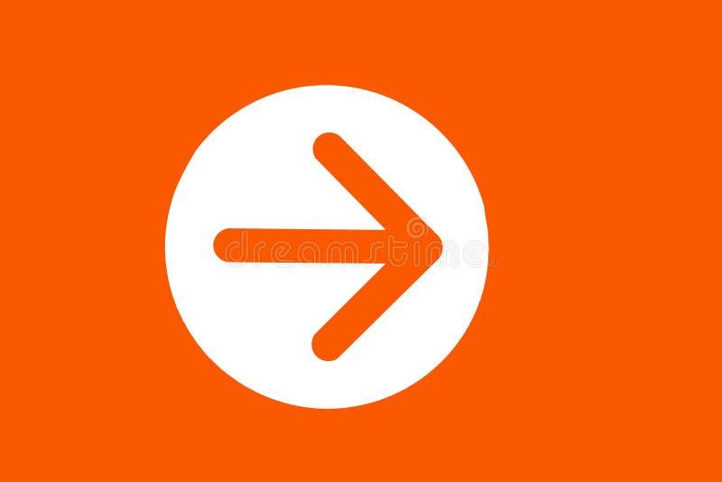Color anaranjado de: Icono de la flecha derecha, como fondo del símbolo fotos de archivo