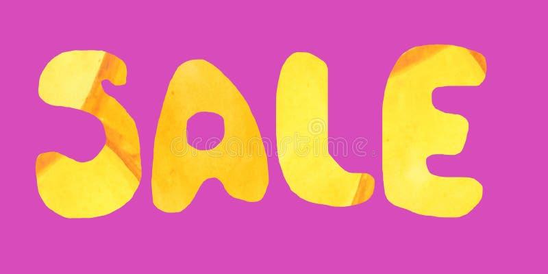 Color anaranjado de la venta de la inscripción en un fondo rosado ilustración del vector