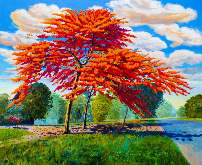 Color anaranjado rojo original del paisaje de la pintura al óleo del pavo real fotos de archivo