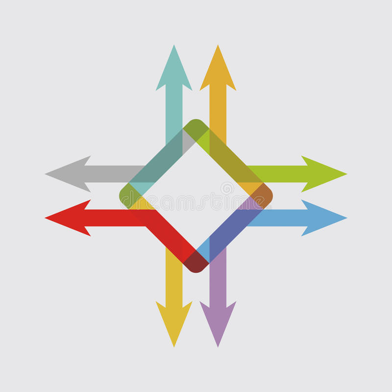 Color arrows, abstract illustration royalty free illustration