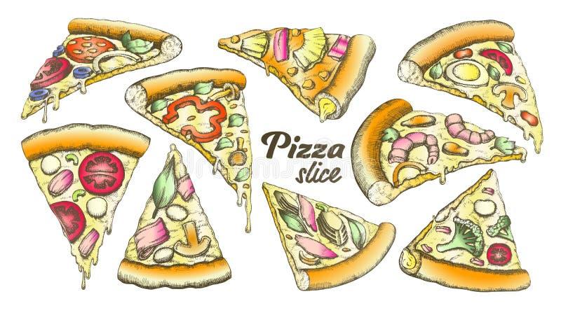 Color Assortment Different Slice Pizza Set Ink Vector royalty free illustration