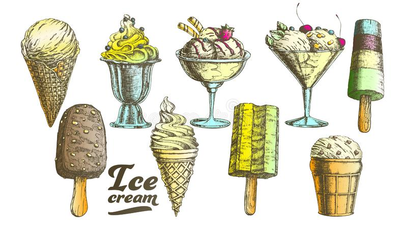 Color Assortment Frozen Ice Cream Set Vintage Vector royalty free illustration