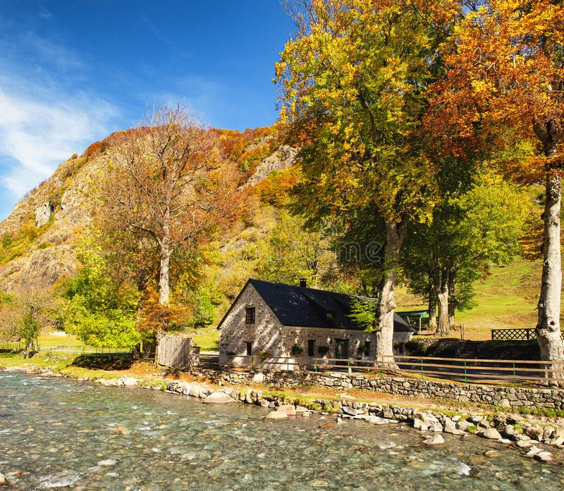 Color of autumn at the mountain with house royalty free stock photo