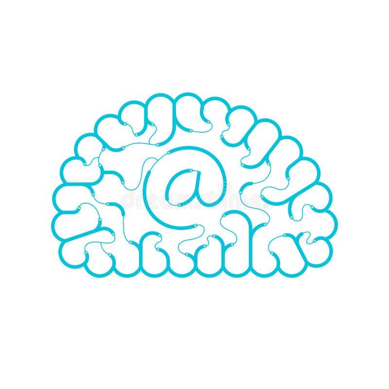 Color azul de alambre del cerebro eléctrico del cable, diseño plano del concepto de Internet del correo electrónico con en el eje libre illustration