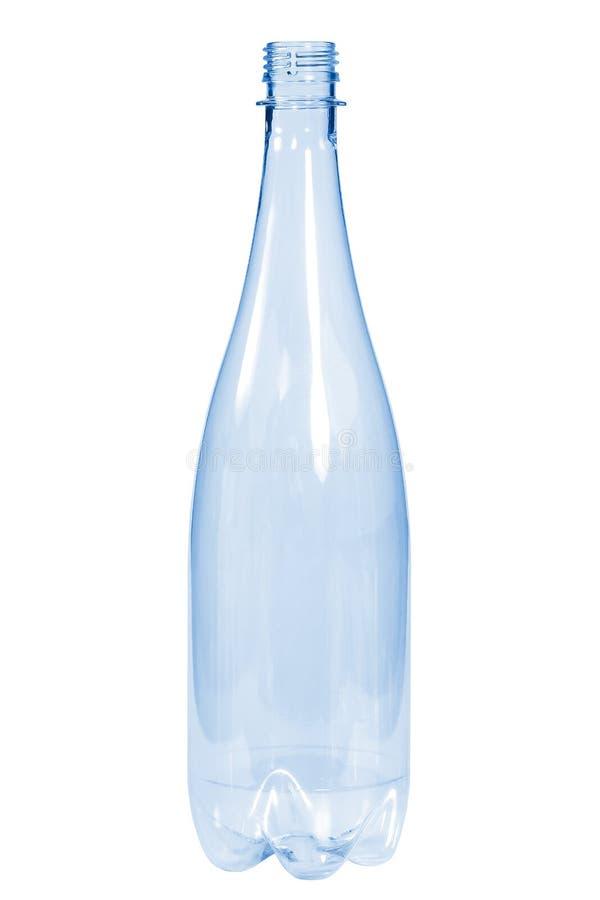 Color azul de la botella plástica nueva, limpia, vacía en el fondo blanco fotos de archivo