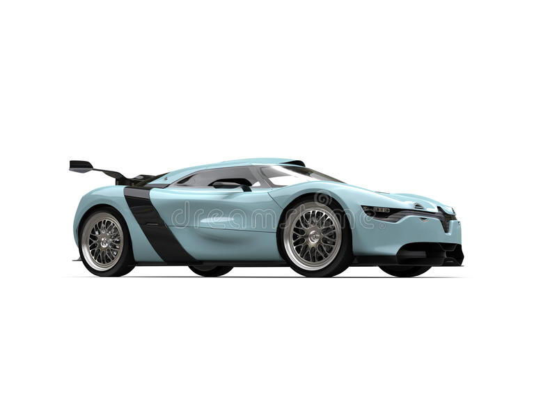Color azul de la tromba marina automotriz estupenda de los deportes - tiro del estudio ilustración del vector