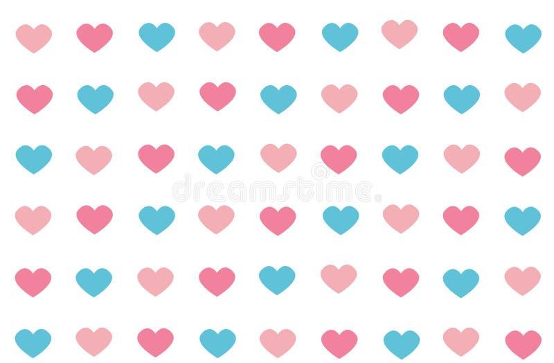Color azul y rosado del modelo inconsútil abstracto del corazón en blanco ilustración del vector