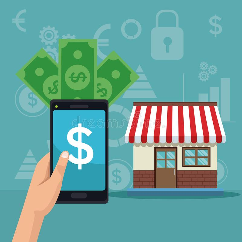 Color background analytics investment with hand holding a smartphone with bills and store house vector illustration