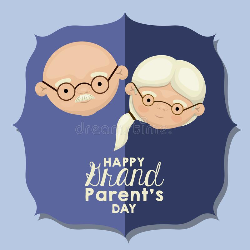 Color background of blue greeting card with caricature face happy grandparents day stock illustration