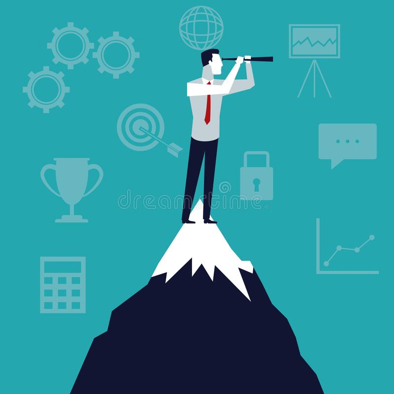 Color background business growth with businessman in the top mountain looking to future stock illustration