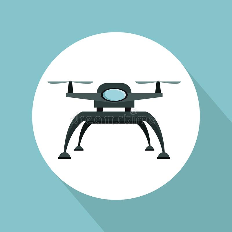 Color background with circular frame drone with two airscrew and base of legs. Vector illustration royalty free illustration