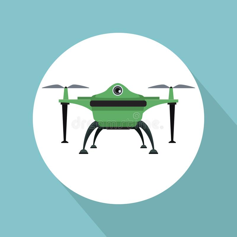 Color background with circular frame drone with two airscrew flying and base. Vector illustration vector illustration