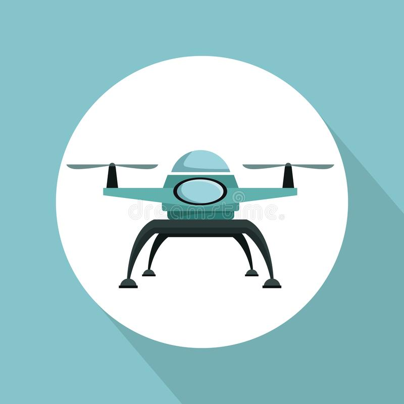Color background with circular frame drone with two airscrew flying. Vector illustration vector illustration