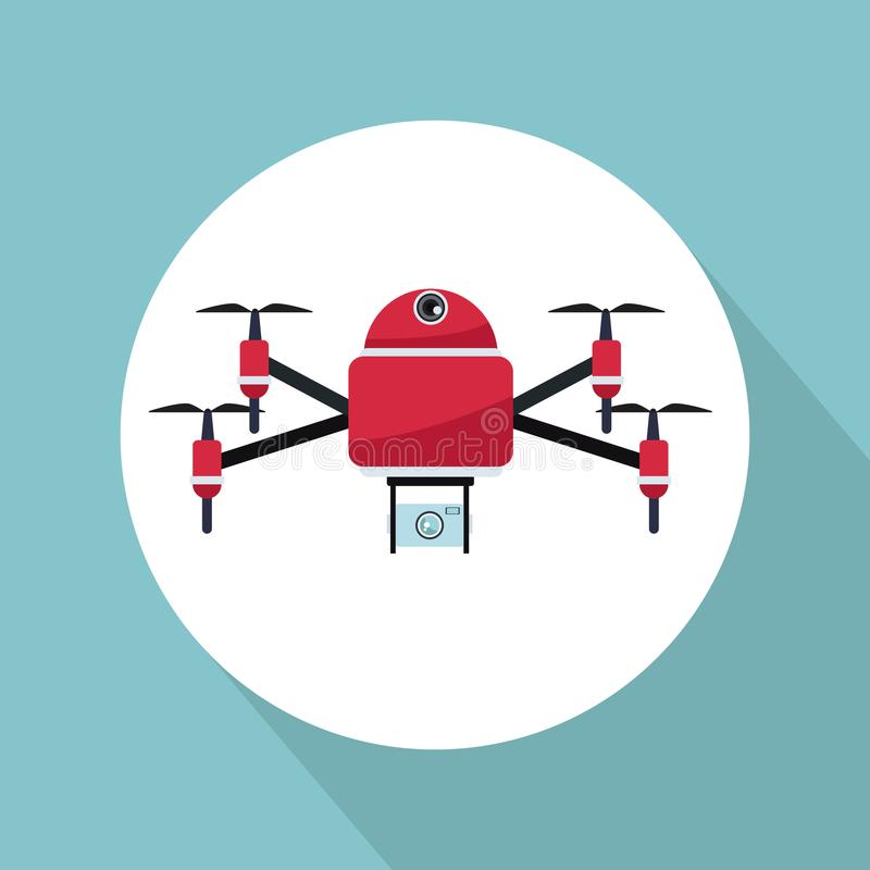 Color background with circular frame robot drone with four airscrew flying and camera. Vector illustration royalty free illustration