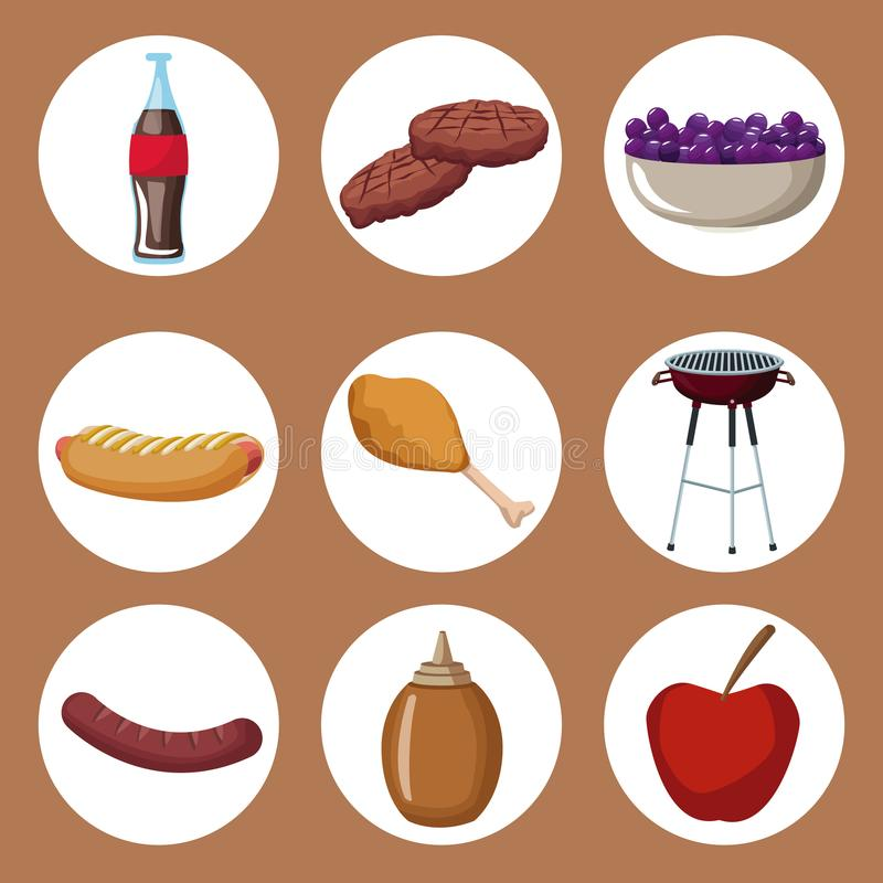Color Background With Circular Frames Of Picnic Food And Grill Bbq ...