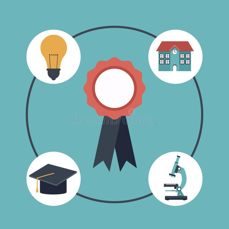 Color background with closeup prize label and set school elements icons around royalty free illustration