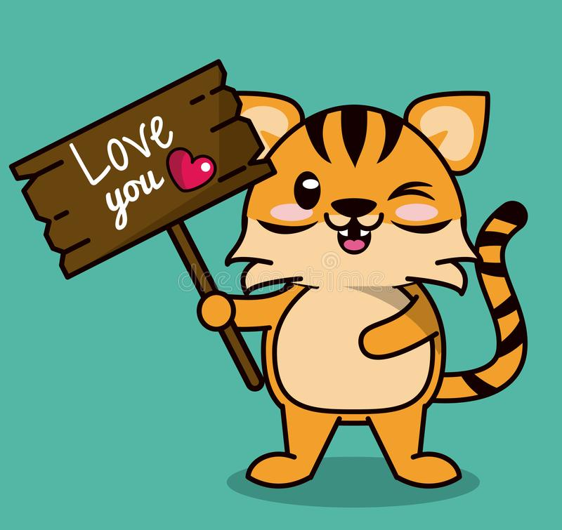 Color background with cute kawaii animal stripe tiger standing with wooden sign love you stock illustration