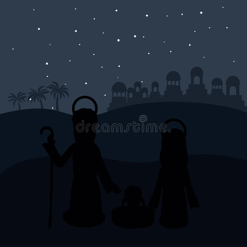 Color background in desert night of bethlehem with virgin mary and saint joseph and jesus in crib vector illustration