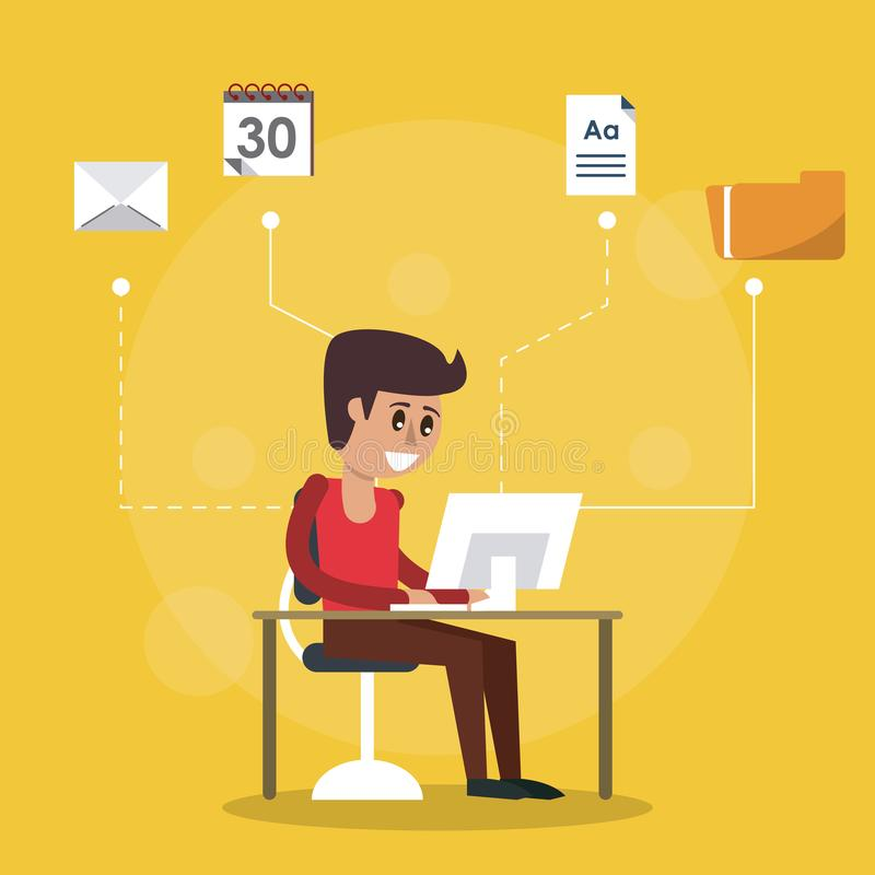 Color background of desk with desktop computer and man sitting in side view and computer icons apps on top. Vector illustration royalty free illustration