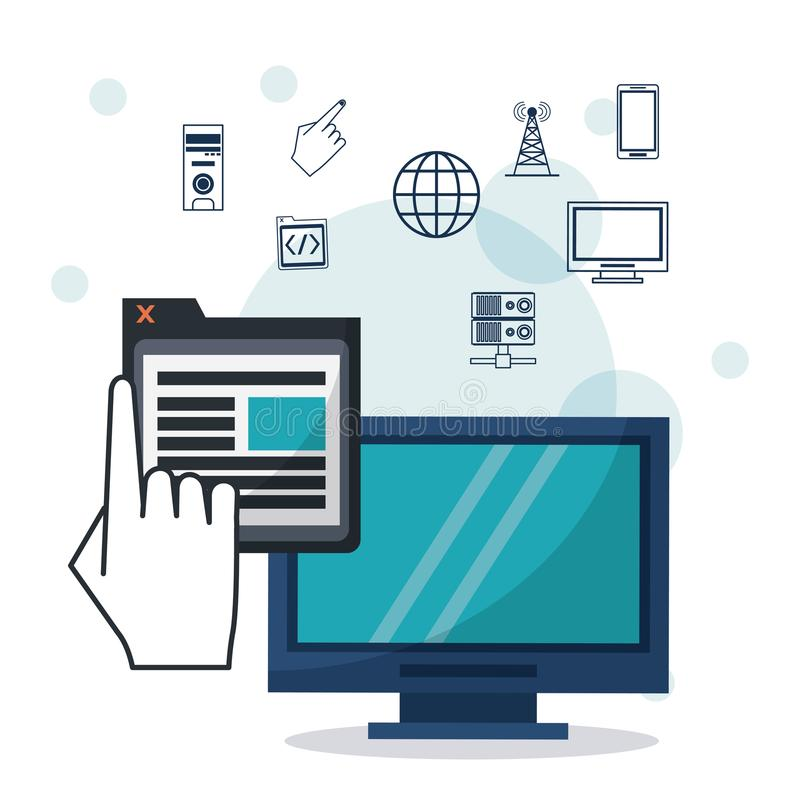 Color background with desktop computer in closeup with window app and networking icons on top. Vector illustration vector illustration
