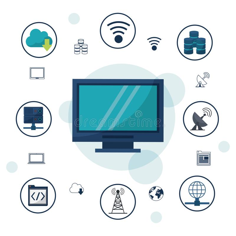 Color background with desktop computer and icons network connections and communications around stock illustration