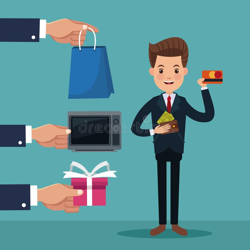 Color background of executive man standing with icons elements of investment and shopping vector illustration
