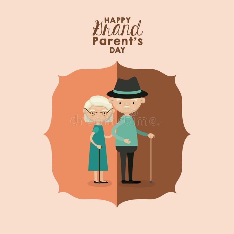 Color background of figure paper brown greeting card with caricature full body elderly couple happy grandparents day stock illustration