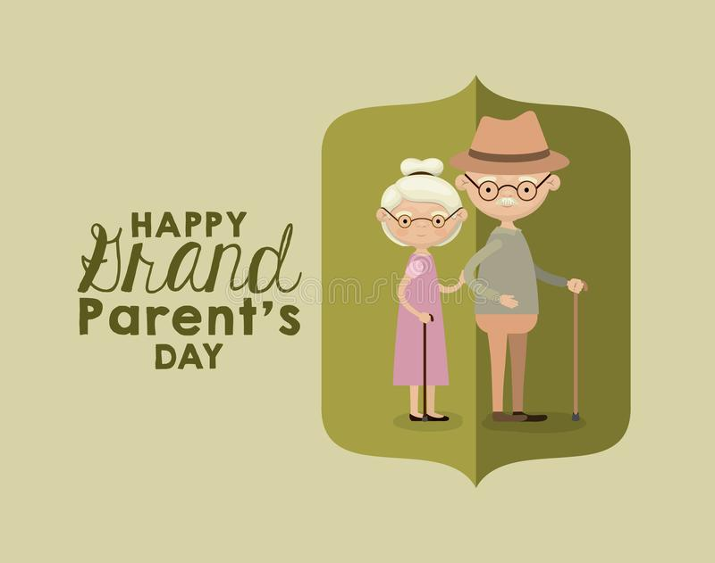 Color background of figure paper green greeting card with caricature full body elderly couple happy grandparents day stock illustration