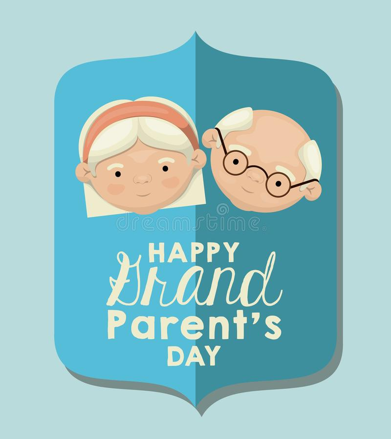 Color background of figure paper light blue greeting card with caricature face couple happy grandparents day stock illustration