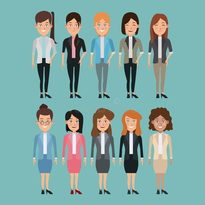 Color background full body set of multiple women characters for business royalty free illustration