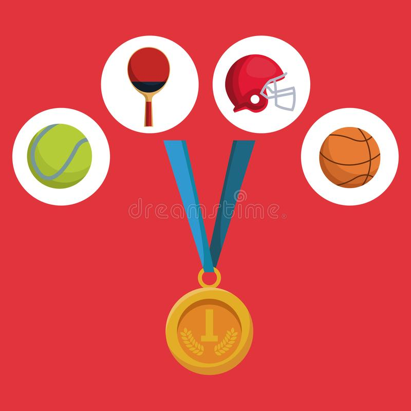 Color background with golden medal first place and icons of elements sports royalty free illustration