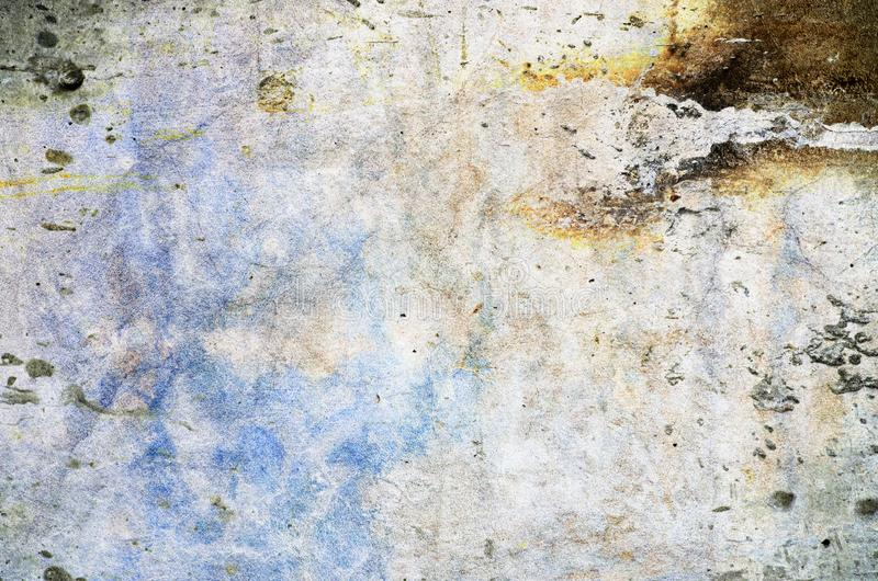 Color background. Grunge red blue and yellow painted on concrete wall. texture abstract for background. Vintage background with grunge texture cracks, remnants royalty free stock image