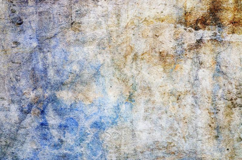 Color background. Grunge red blue and yellow painted on concrete wall. texture abstract for background. Vintage background with grunge texture cracks, remnants royalty free stock photography