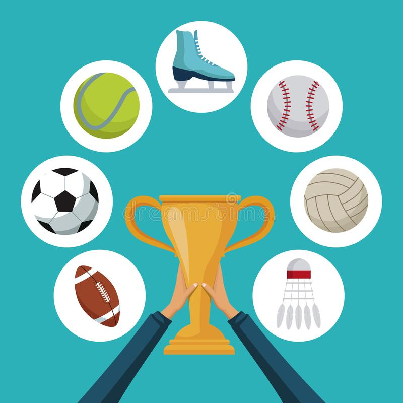 Color background with hands holding a golden trophy cup with icons elements sport in circular frames around royalty free illustration