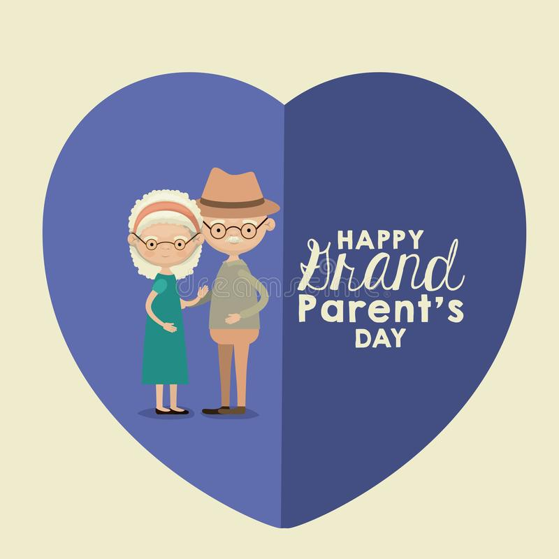 Color background of heart shape blue greeting card with caricature full body elderly couple embraced happy grandparents stock illustration