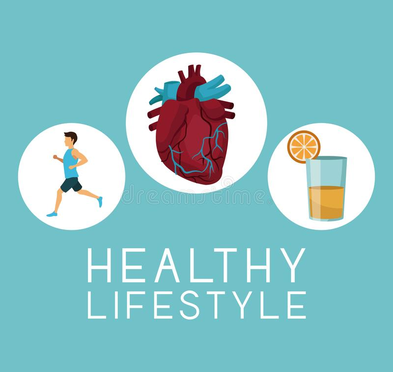Color background with icons circular frame of sport man ruinning with heart organ and orange juice text healthy. Lifestiyle vector illustration vector illustration