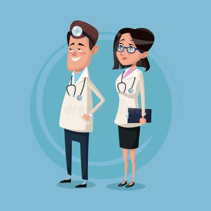Color background male and female team surgeons vector illustration