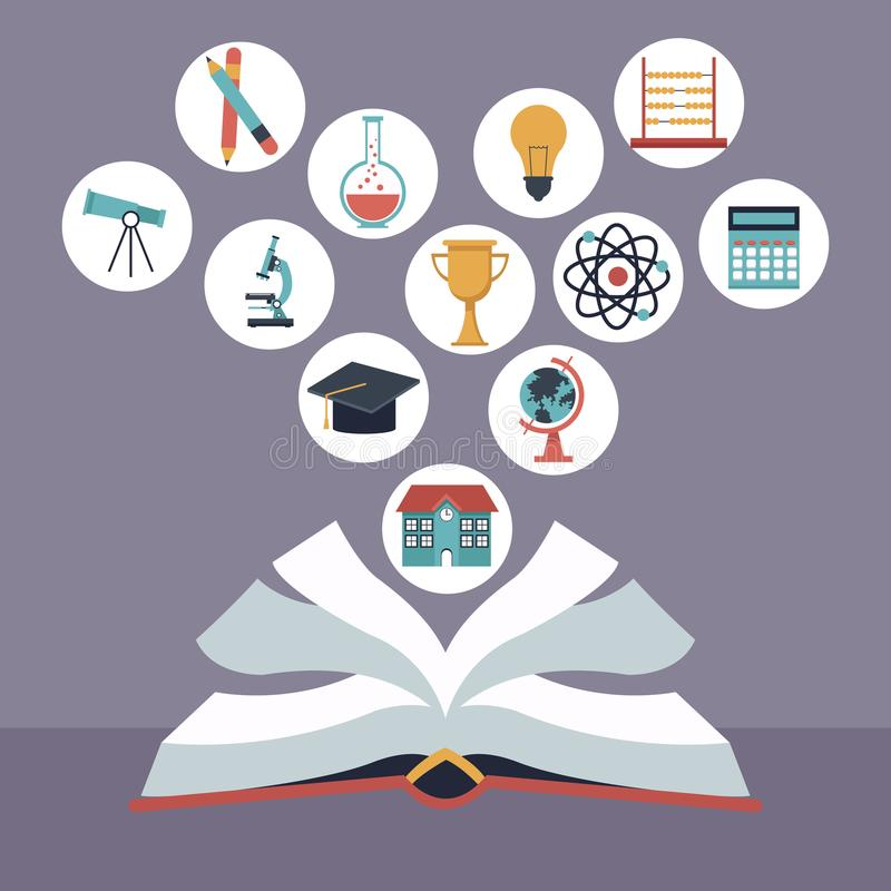 Color background with open book with elements school icons floating. Vector illustration stock illustration