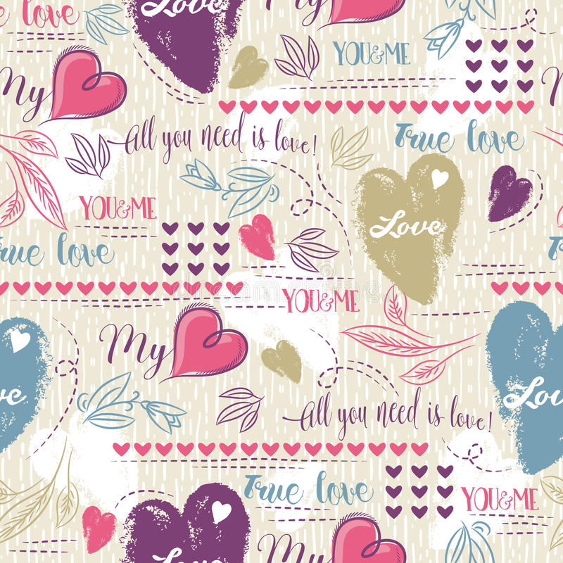Color background with red and blue valentine heart and wishes text stock images
