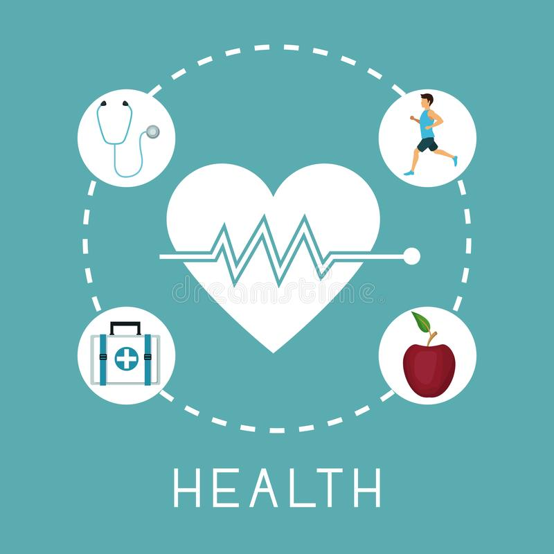 Color background with silhouette heartbeat with icons in circular frame of healthy elements around stock illustration