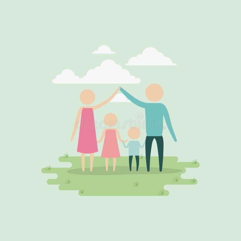 Color background sky landscape and grass with silhouette set pictogram parents holding hands of children. Vector illustration stock illustration