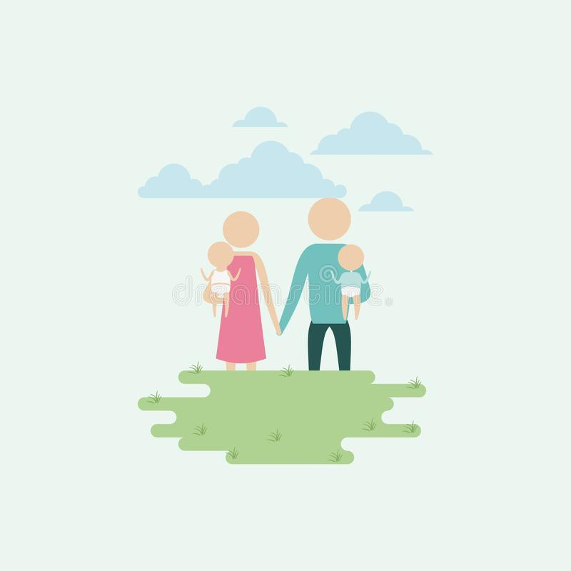 Color background sky landscape and grass with silhouette set pictogram woman and man carrying a babies and holding hands. Vector illustration royalty free illustration