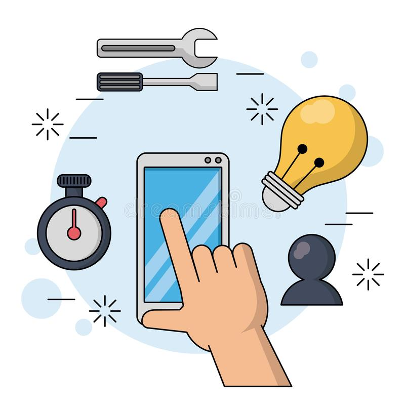 Color background with smartphone and hand in close up with icons of watch timer and tools and light bulb and chat. Vector illustration stock illustration