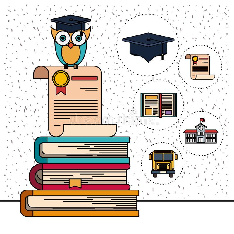 Color background with sparkles of owl on certificate and stack of books with education element icons royalty free illustration
