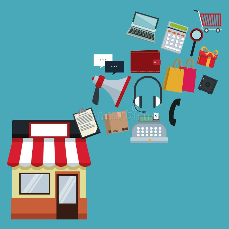Color background with store with awning and icons online shopping floating. Vector illustration stock illustration