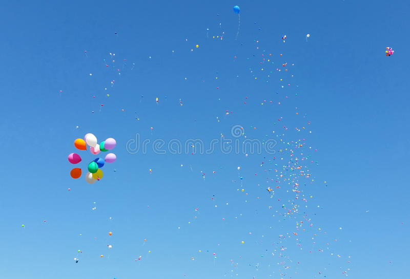 Color ballons in the blue sky stock photo